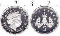 Изображение Монеты Великобритания 5 пенсов 2006 Серебро Proof Елизавета II