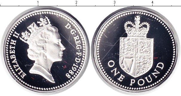Картинка Монеты Великобритания 1 фунт Серебро 1988