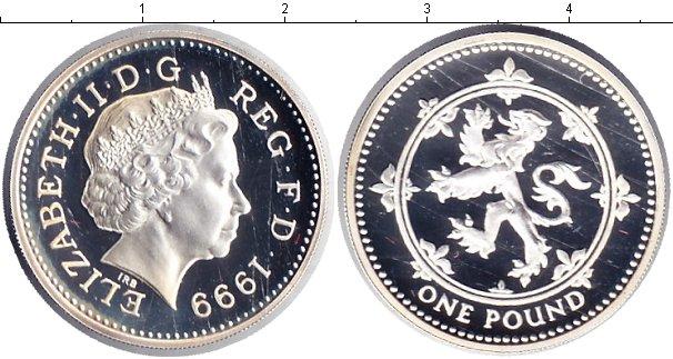 Картинка Монеты Великобритания 1 фунт Серебро 1999