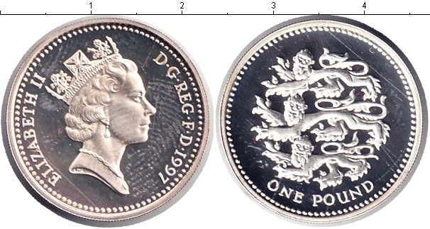 Картинка Монеты Великобритания 1 фунт Серебро 1997