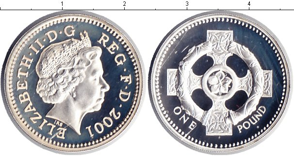 Картинка Монеты Великобритания 1 фунт Серебро 2001