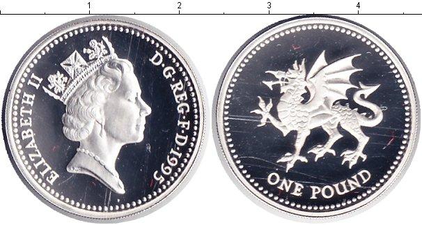 Картинка Монеты Великобритания 1 фунт Серебро 1995