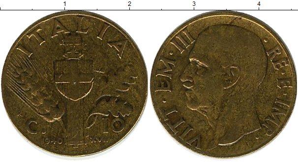 Картинка Монеты Италия 10 сентесим Медь 1940