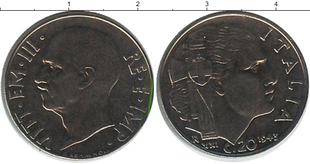 Картинка Монеты Италия 20 сентесим Железо 1943
