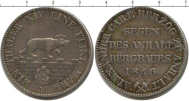 Картинка Монеты Анхальт 1 талер Серебро 1846