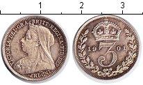 Изображение Монеты Великобритания 3 пенса 1901 Серебро XF Виктория. Из маунди-
