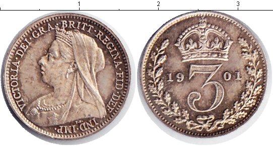 Картинка Монеты Великобритания 3 пенса Серебро 1901