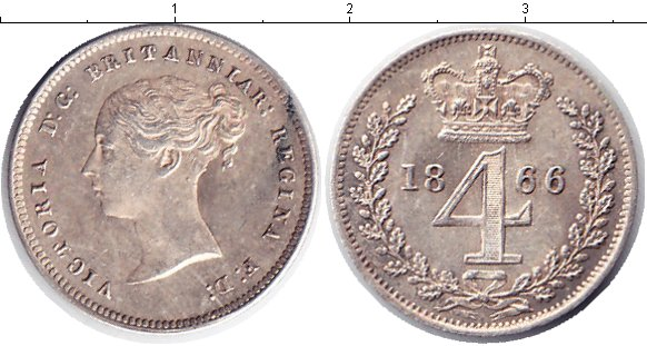 Картинка Монеты Великобритания 4 пенса Серебро 1866