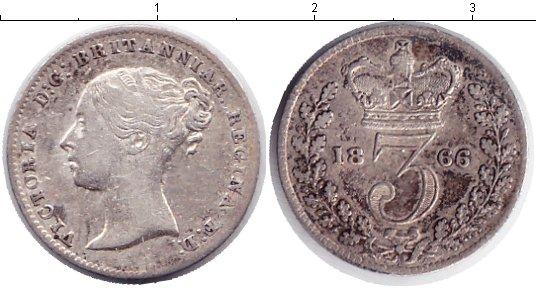 Картинка Монеты Великобритания 3 пенса Серебро 1866