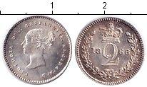 Изображение Монеты Великобритания 2 пенса 1866 Серебро XF Виктория. Из маунди-