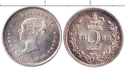Картинка Монеты Великобритания 2 пенса Серебро 1866