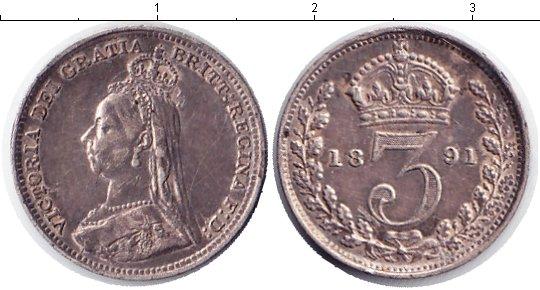 Картинка Монеты Великобритания 3 пенса Серебро 1891