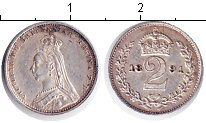Изображение Монеты Великобритания 2 пенса 1891 Серебро XF Виктория. Из маунди-