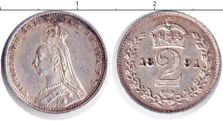 Картинка Монеты Великобритания 2 пенса Серебро 1891