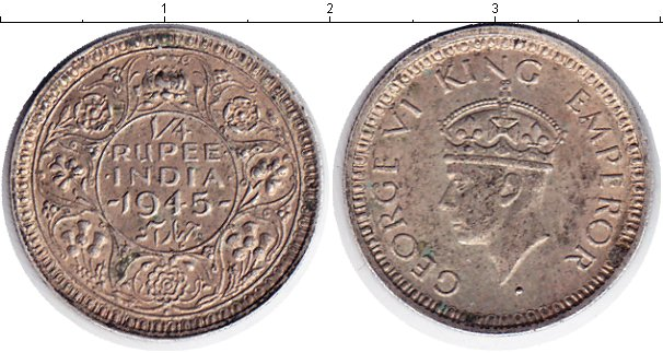 Картинка Монеты Индия 1/4 рупии Серебро 1945