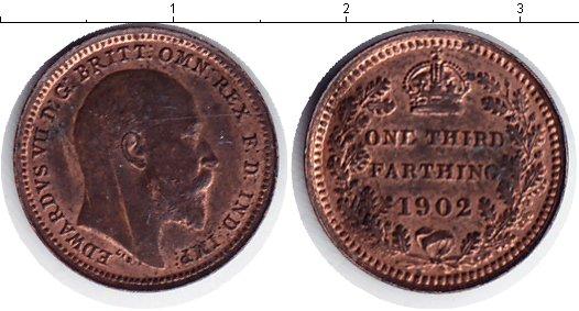 Картинка Монеты Великобритания 1/3 фартинга Медь 1902