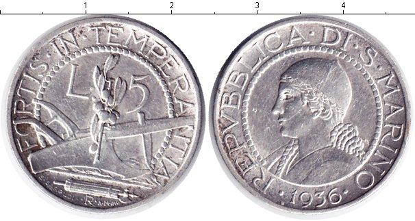 Картинка Монеты Сан-Марино 5 лир Серебро 1936