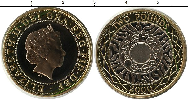 Картинка Монеты Великобритания 2 фунта Биметалл 2000
