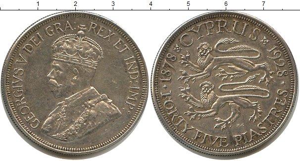 Картинка Монеты Кипр 45 пиастров Серебро 1928