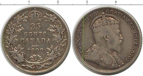Картинка Монеты Канада 25 центов Серебро 1909