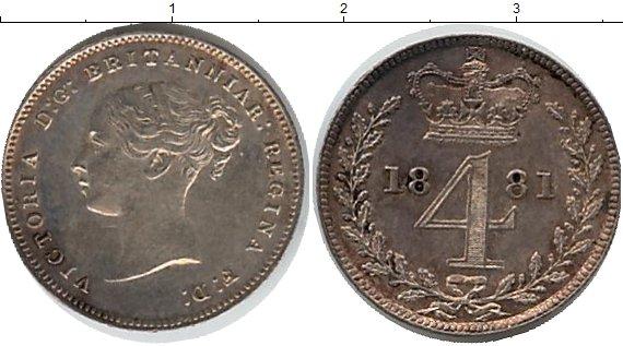 Картинка Монеты Великобритания 4 пенса Серебро 1881