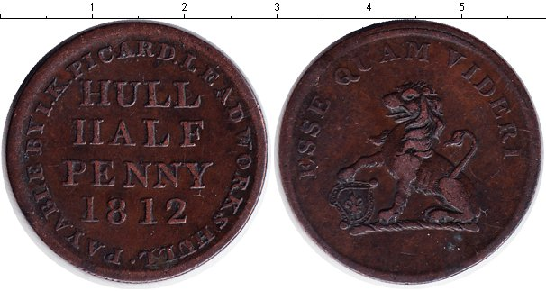 Картинка Монеты Великобритания 1/2 пенни Медь 1812