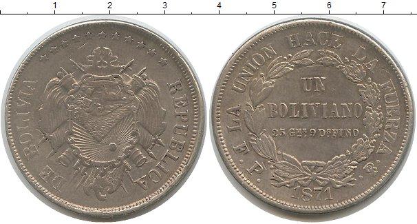 Картинка Монеты Боливия 1 боливиано Серебро 1871