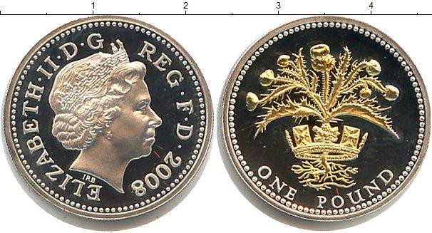 Картинка Монеты Великобритания 1 фунт Позолота 2008