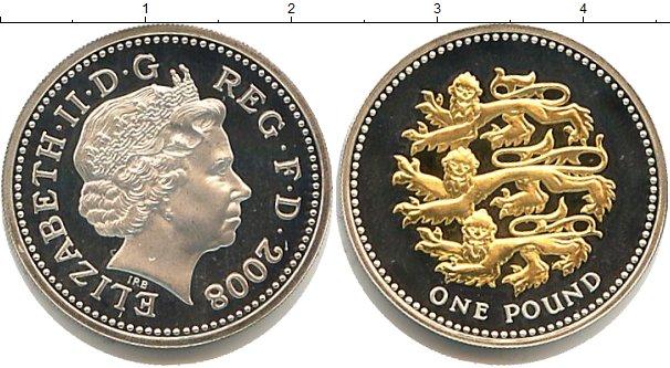 Картинка Монеты Великобритания 1 фунт Серебро 2008
