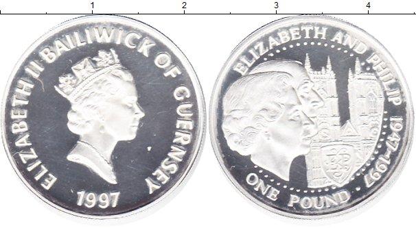 Картинка Монеты Гернси 1 фунт Серебро 1997