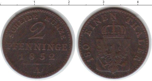Картинка Монеты Пруссия 2 пфеннига Медь 1852