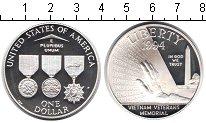 Изображение Монеты США 1 доллар 1994 Серебро Proof- Мемориал Ветеранам В