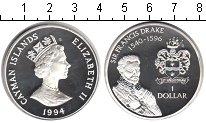 Изображение Монеты Каймановы острова 1 доллар 1994 Серебро Proof- Сэр Францис Дрейк