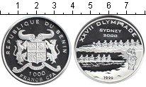 Изображение Монеты Бенин 1.000 франков 1999 Серебро Proof- XXVII Олимпиада