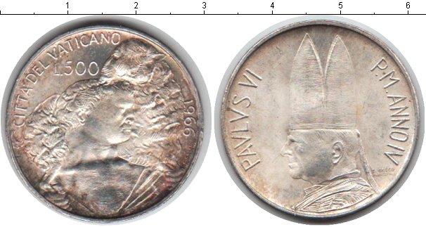 Картинка Монеты Ватикан 500 лир Серебро 1966