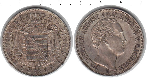 Картинка Монеты Саксония 1 талер Серебро 1848