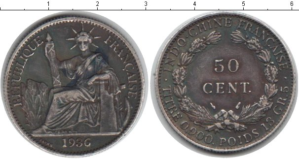 Картинка Монеты Индокитай 50 центов Серебро 1936