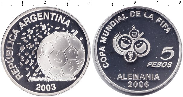 Картинка Монеты Аргентина 5 песо Серебро 2003