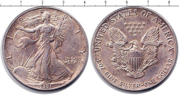 Картинка Монеты США 1 доллар Серебро 1991