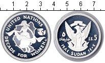 Изображение Монеты Судан 5 динар 1984 Серебро Proof- Декада женщин