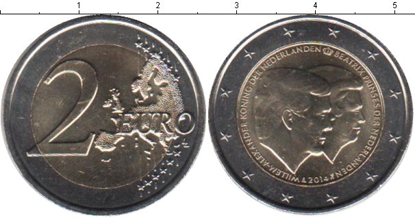 Картинка Мелочь Нидерланды 2 евро Биметалл 2014