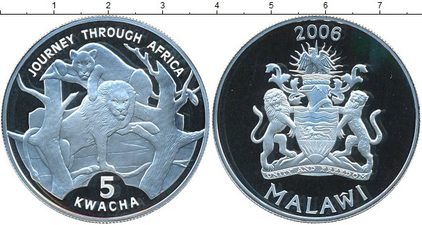 Картинка Монеты Малави 5 квач Серебро 2006