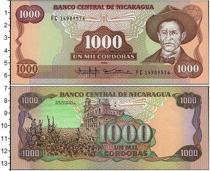 Картинка Боны Никарагуа 1.000 кордоба  1985