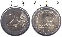 Изображение Мелочь Бельгия 2 евро 2014 Биметалл UNC- 100 лет с начала Пер