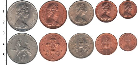 Изображение Наборы монет Великобритания Великобритания 1968-1971 0  UNC- В наборе 5 монет ном