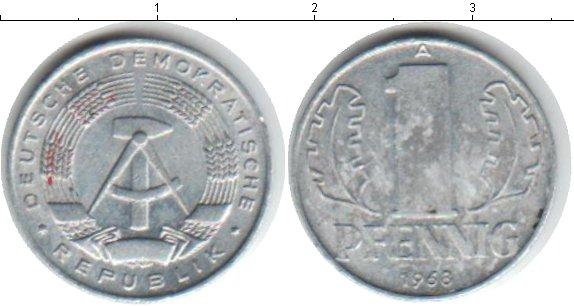 Картинка Дешевые монеты ГДР 1 пфенниг  1968