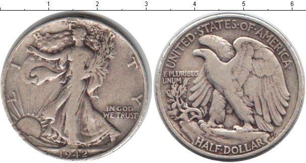 Картинка Монеты США 1/2 доллара Серебро 1942