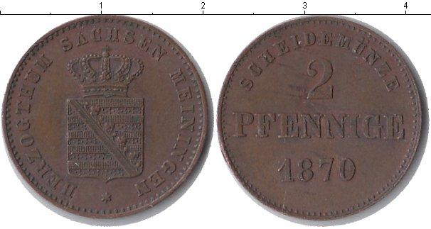 Картинка Монеты Саксен-Майнинген 2 пфеннига Медь 1870
