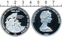 Изображение Монеты Теркc и Кайкос 20 крон 1992 Серебро Proof-