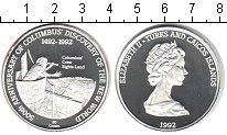 Изображение Монеты Теркc и Кайкос 20 крон 1992 Серебро Proof- 500-летие открытия Н